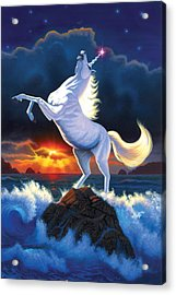 Unicorn Raging Sea Acrylic Print by Chris Heitt