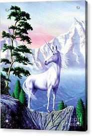 Unicorn The Land That Time Forgot Acrylic Print by Garry Walton