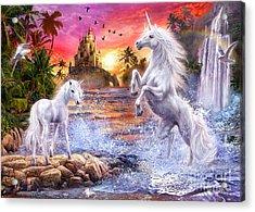 Unicorn Waterfall Sunset Acrylic Print by Jan Patrik Krasny