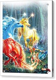 Unicorns And Fairies Acrylic Print by Zorina Baldescu