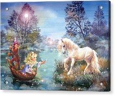 Unicorns Lake Acrylic Print by Zorina Baldescu