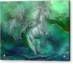 Unicorns Of The Sea Acrylic Print by Carol Cavalaris