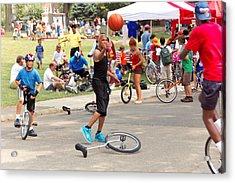 Unicyclist - Basketball - Street Rules  Acrylic Print by Mike Savad