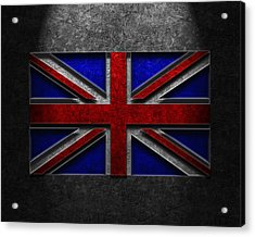 Acrylic Print featuring the digital art Union Jack Stone Texture by The Learning Curve Photography