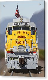 Union Pacific 844 On The Move Acrylic Print by Mike McGlothlen