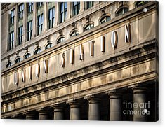 Union Station Chicago Sign And Building Acrylic Print by Paul Velgos