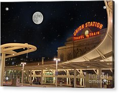 Union Station Denver Under A Full Moon Acrylic Print by Juli Scalzi