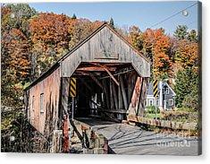Union Village Covered Bridge Thetford Vermont Acrylic Print by Edward Fielding
