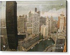 Vintage Unique Downtown Chicago View Digital Art Acrylic Print