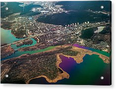 Unique Overview. Rainbow Earth Acrylic Print by Jenny Rainbow