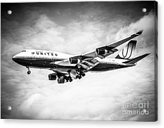 United Airlines Boeing 747 Airplane Black And White Acrylic Print by Paul Velgos