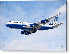 United Airlines Boeing 747 Airplane Landing Acrylic Print by Paul Velgos