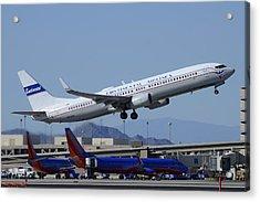 United Boeing 737-924 N75436 Continental Retro Taking Off Phoenix Sky Harbor March 6 2015 Acrylic Print by Brian Lockett