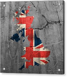 United Kingdom Uk Union Jack Flag Country Outline Painted On Old Cracked Cement Acrylic Print