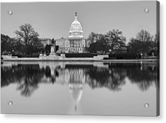 United States Capitol Building Bw Acrylic Print by Susan Candelario