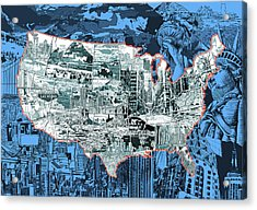 United States Drawing Collage Map 2 Acrylic Print