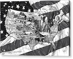 United States Drawing Collage Map 5 Acrylic Print