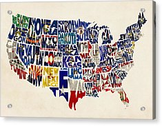 United States Flags Map Acrylic Print by Ayse Deniz
