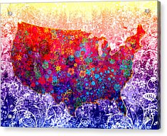 United States Floral Map 2 Acrylic Print