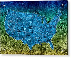 United States Floral Map 3 Acrylic Print