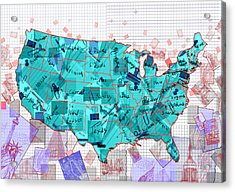 United States Map Collage 2 Acrylic Print
