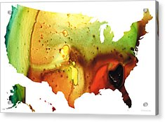 United States Of America Map 5 - Colorful Usa Acrylic Print by Sharon Cummings