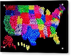 United States Of Lite Brite Acrylic Print by Benjamin Yeager