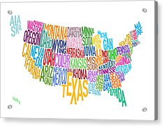 United States Text Map Acrylic Print by Michael Tompsett