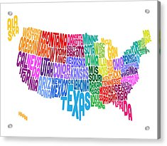 United States Typography Text Map Acrylic Print by Michael Tompsett