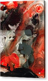 Universal Qi - Zen Black And Red Art Acrylic Print by Sharon Cummings
