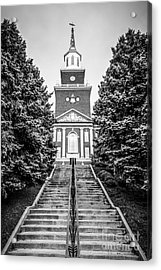 University Of Cincinnati Mcmicken Hall Black And White Picture Acrylic Print by Paul Velgos