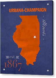 University Of Illinois Fighting Illini Urbana Champaign College Town State Map Poster Series No 047 Acrylic Print