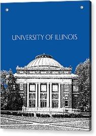 University Of Illinois Foellinger Auditorium - Royal Blue Acrylic Print by DB Artist