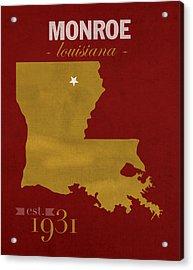University Of Louisiana Monroe Warhawks College Town State Map Poster Series No 058 Acrylic Print