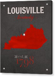 University Of Louisville Cardinals Kentucky College Town State Map Poster Series No 059 Acrylic Print