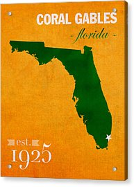 University Of Miami Hurricanes Coral Gables College Town Florida State Map Poster Series No 002 Acrylic Print by Design Turnpike