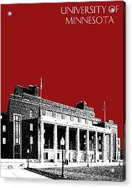 University Of Minnesota - Coffman Union - Dark Red Acrylic Print by DB Artist