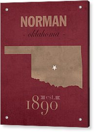 University Of Oklahoma Sooners Norman College Town State Map Poster Series No 083 Acrylic Print