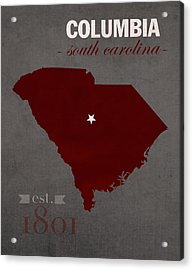 University Of South Carolina Gamecocks Columbia College Town State Map Poster Series No 096 Acrylic Print