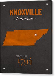 University Of Tennessee Volunteers Knoxville College Town State Map Poster Series No 104 Acrylic Print
