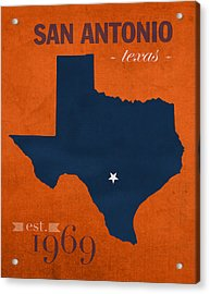 University Of Texas At San Antonio Roadrunners College Town State Map Poster Series No 111 Acrylic Print by Design Turnpike