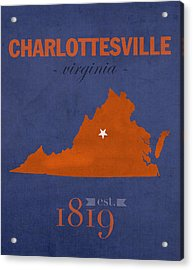 University Of Virginia Cavaliers Charlotteville College Town State Map Poster Series No 119 Acrylic Print