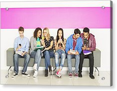 University Students Sitting On Bench Acrylic Print by Robert Daly