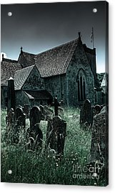 unkempt overgrown gravestones in the churchyard of St Mary's chu Acrylic Print by Peter Noyce