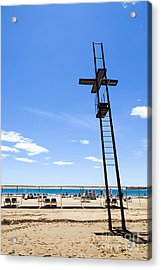 Unoccupied Lifeguard Platform On  The Beach  Acrylic Print