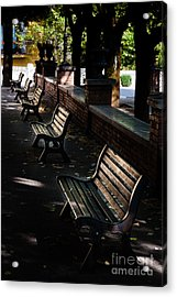 unoccupied park benches in the shade of trees in Palestrina Acrylic Print