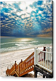 Acrylic Print featuring the photograph Rosemary Seaside Beach Florida Staircase White Sand Blue Clouds Art by Eszra