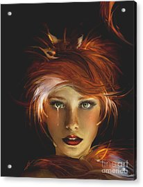 Untamed The Redhead And The Fox Acrylic Print