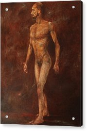 The Nude Walking Acrylic Print by Pralhad Gurung