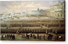 Unveiling Of The Paul I Memorial In Gatchina, 1850 Oil On Canvas Acrylic Print by Gustav Schwarz